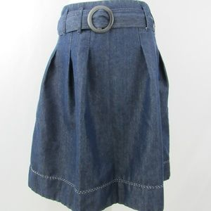 Denim Belted A Line Flare Pleated w/Pockets Skirt
